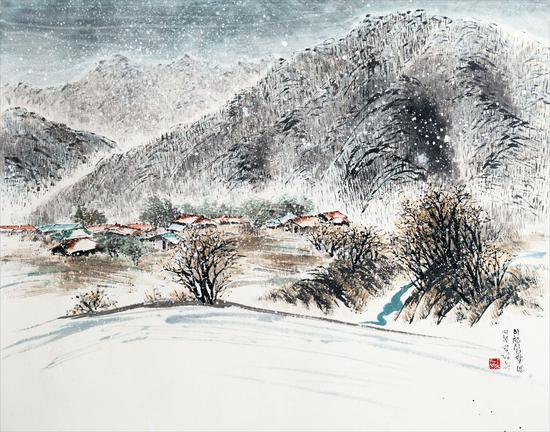 郑井玉(韩)《月岳山意 雪2》