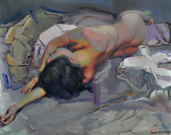 杨广生作品《背卧女人体》100X80cm 2008