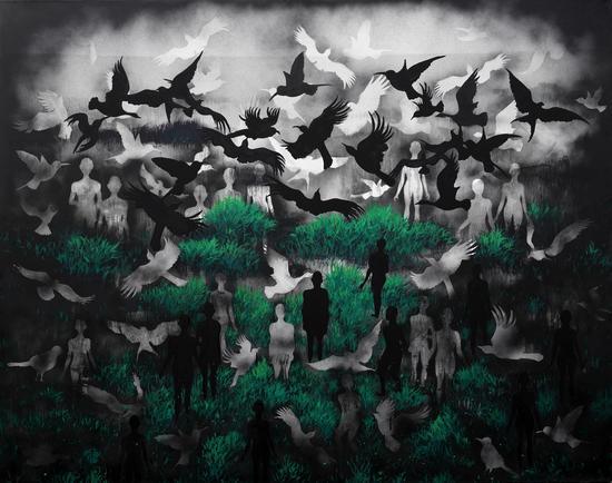 郭燕《变异的风景》160x200cm,布面油画,2016年