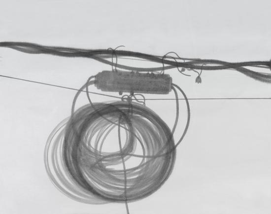 伊瑞 《电线杆#1》 180x330cm 宣纸水墨 2016年