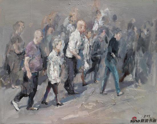 王浩辉 行走之二 80×100cm 2018 布面油画