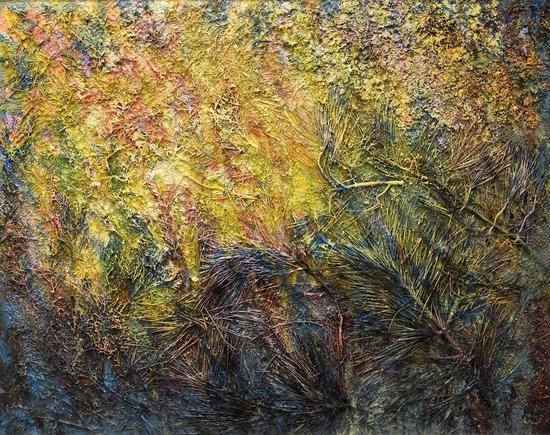 朱玉祥《大山系列-36》,103×130cm,布面油画与综合材料,2018