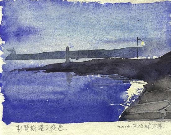 《彭赞斯港之夜》20x21cm 水彩 2016年