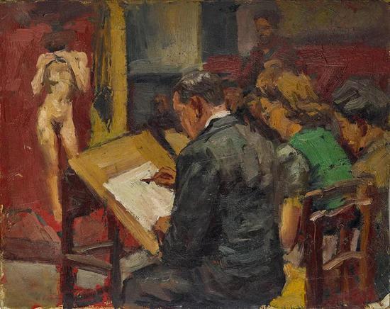 Lot.760 沙耆(1914-2005) 画室 1940年    木板油画 32×40cm。    来源:亚洲私人收藏