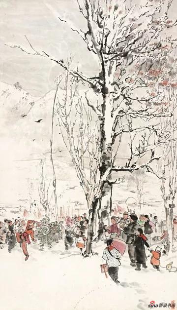 金志远 闹元宵20世纪50年代,81×46,纸本水墨设色,中国画