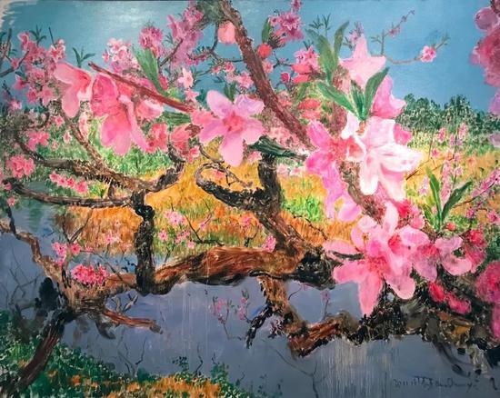 周春芽《彼岸桃花》布面油画 200x250cm 2011