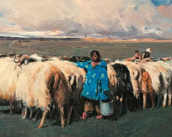 黄胜贤《西藏风情之十六》2016年 80x100cm