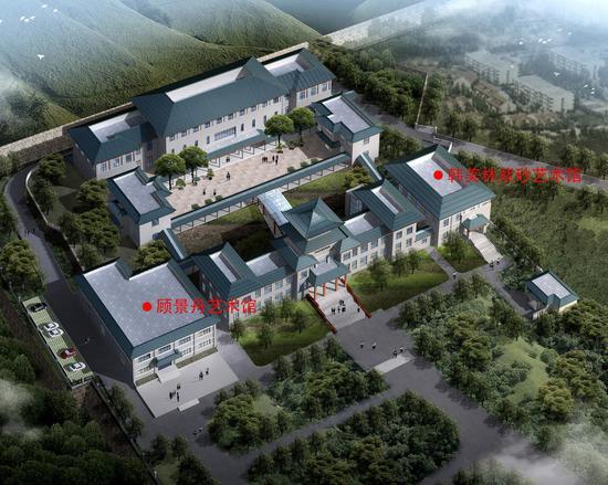 """宜兴·中国陶瓷博物馆主楼的两侧,南有""""顾景舟艺术馆"""",北有""""韩美林紫砂艺术馆"""""""
