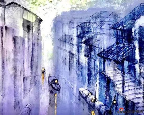 彩墨《 水巷 》