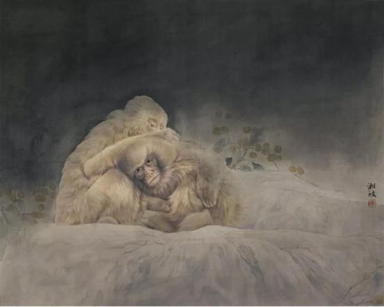 作品名称:《相依幽树月》   作品尺寸:74.5x96.7 cm   材质:绢本设色