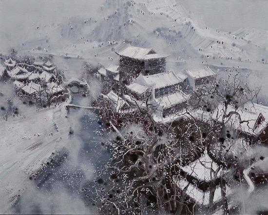40《江南春雪系列之 10》翁凯旋 120cm×150cm 布面油画 2017年