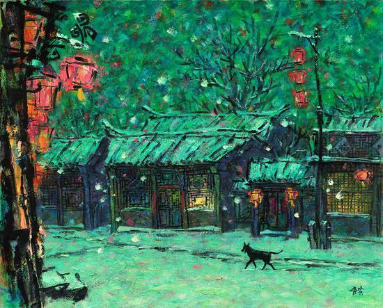 4 《墨骨油画--正月雪》李秀实 73cm×91cm 2007年