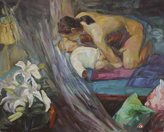 《母与子系列之一》120×160cm 油画