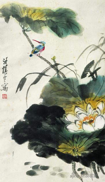 汪慎生 荷花翠鸟 纸本设色 纵68厘米 横39厘米