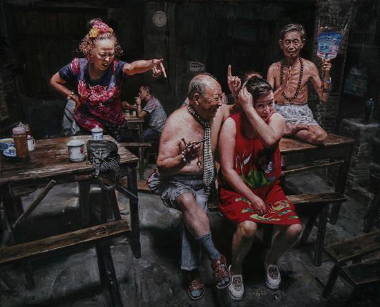 陈安健《茶馆系列-啪》50x42cm 2014年 布面油画
