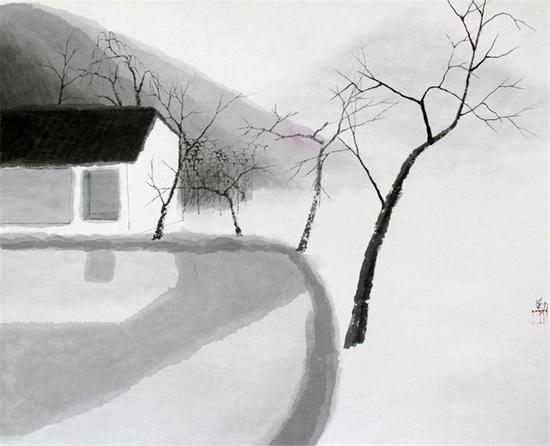 沈勤作品 仙居-46x57cm-宣纸2005