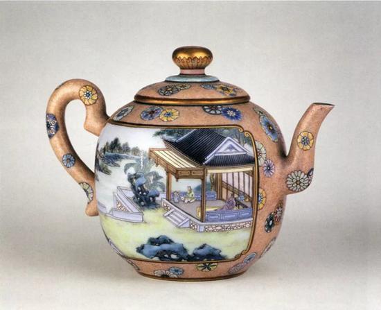 故宫博物院藏清乾隆粉彩开光烹茶图茶壶