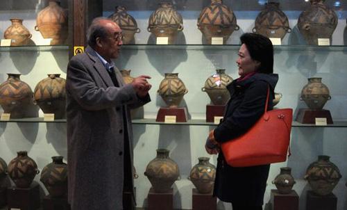 王志安馆长向主持人郭丹介绍马家窑彩陶图案的特点