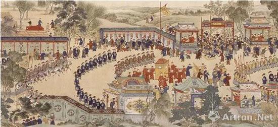 (清)佚名 康熙万寿图卷 第二卷(局部1) 绢本设色   纵45厘米 横3911厘米 北京故宫博物院藏