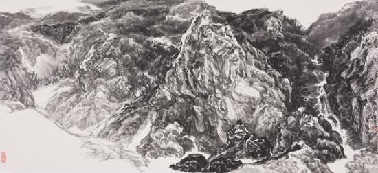 《云山相依》,纸本,45cmX97cm,2017年。