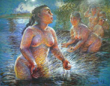 《浴女》 罗中立 布面油画 120×95cm