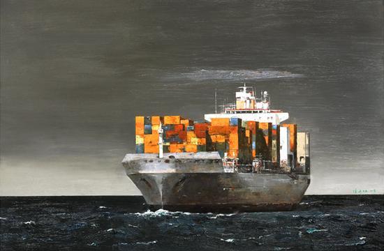 《21世纪海上丝绸之路》-冯少协 海上丝绸之路 油画世界巡展东盟总部