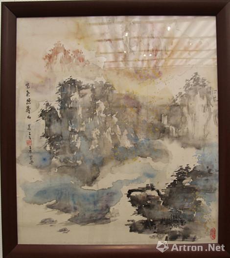 吴乙古 《彩墨山水系列》 绢本捻条画 95cmx82cm 2015年