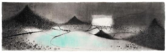 沈勤,村,136×41cm,纸本水墨,2015
