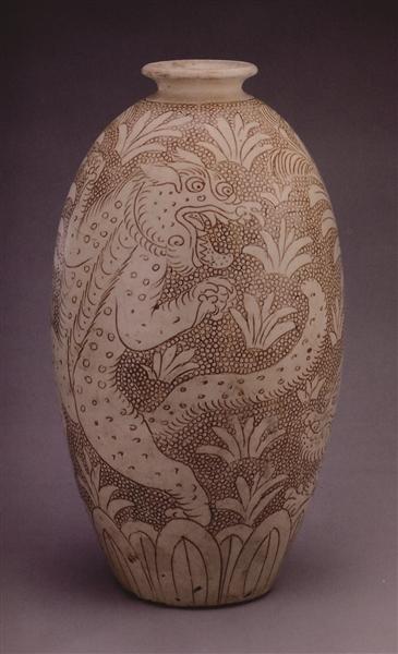 图1,北宋珍珠地划花虎纹梅瓶,高31.9厘米,故宫博物院收藏