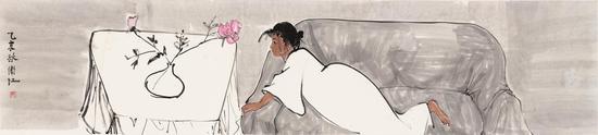 靳卫红,独对,53×236cm,纸本水墨,2015