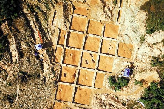 榄园岭遗址考古工地南区航拍图 羊城晚报记者 郑迅 通讯员 穗文考 摄