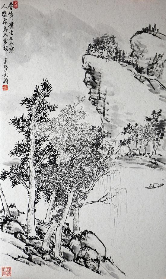 画作 人随飞鸟入云端 65x39cm