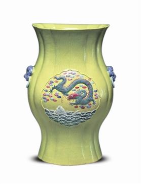 清光绪绿地鱼龙图花式瓶