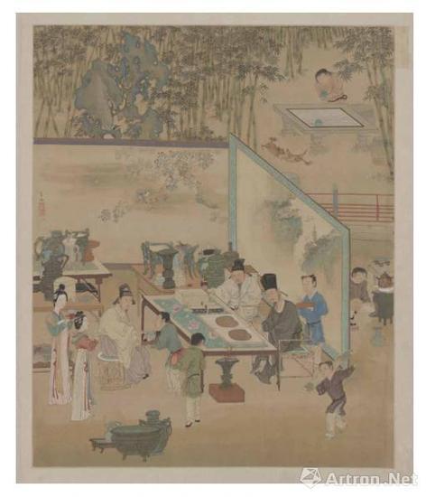 仇英 人物故事图册-竹院品古 故宫博物院藏