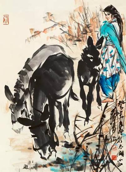 1983年作 牧驴图 立轴 设色纸本