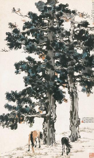 徐悲鸿《古柏双骏》,成交价:1782.5万元
