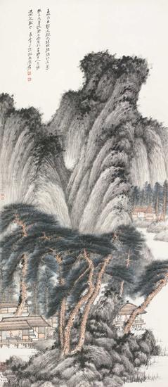 张大千《溪山高隐图》,成交价:1380万元