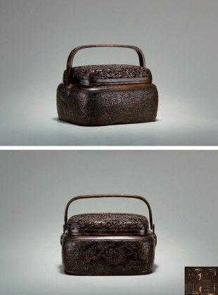 明 铜雕锦地龙纹八宝手炉
