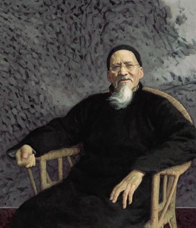 靳尚谊的油画作品《晚年黄宾虹》