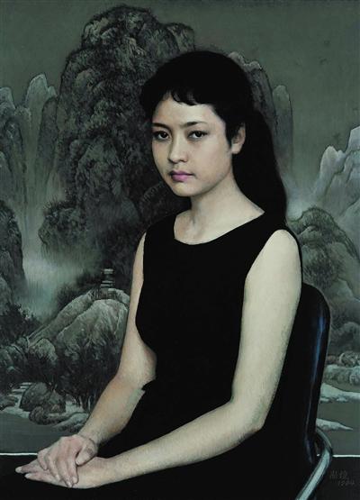 靳尚谊的油画作品《青年女歌手》。