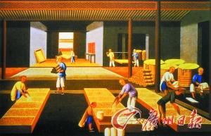 清代广州外销通草画体现的广州瓷器远洋运输前的包装场景。