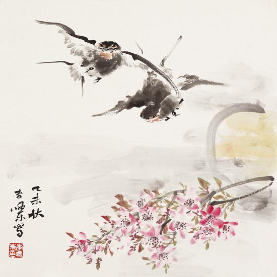 李啸东 双双暮归处 纸本设色 39×39cm 2014