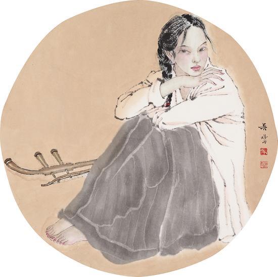 吴鸣 此时无声之一 纸本设色 40×40cm2014
