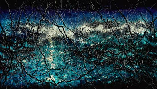 《蓝》(2015),布面油画,400 x 700厘米