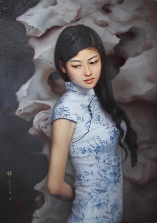 熊师《a油画的等待》5050xx7070cm2015油画视频的布面江小鱼图片