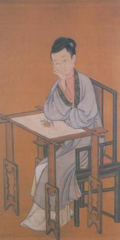 清  《倦绣图》轴  国家博物馆藏