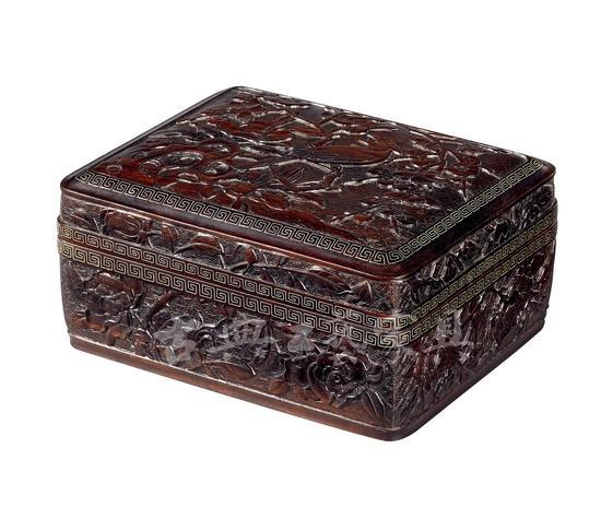 明嘉靖 紫檀木雕嵌银线《梅花绶鸟图》盖盒