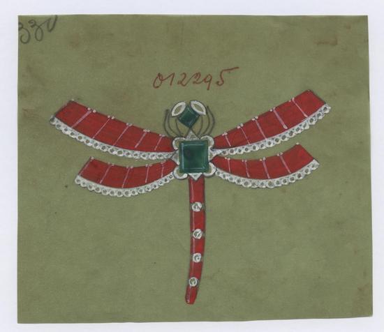 """""""蜻蜓""""胸针设计手绘稿"""