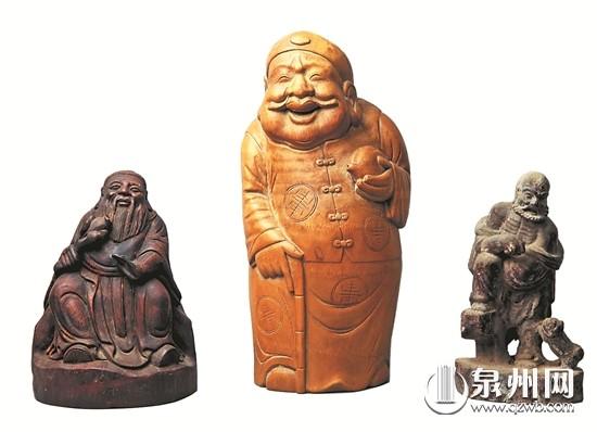 新老竹雕制品颜色迥异