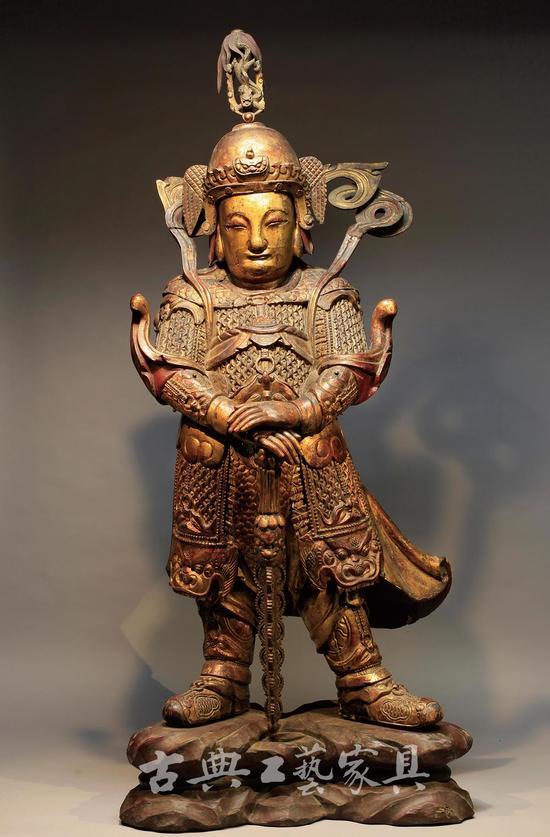 明 木雕漆金韦陀立像